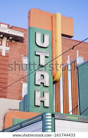 Utah Cinema Marquee, Logan, Utah - stock photo