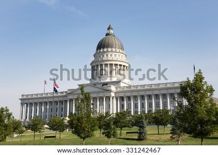Utah State Capitol building is located in Salt Lake City, Utah, USA. - stock photo