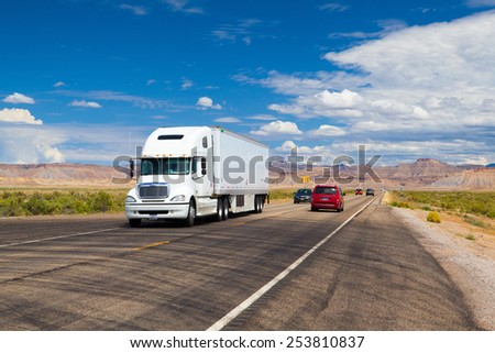 Utah,USA - July 18,2013: Typical americal highway in Utah.Three numbered highway systems are present in Utah:Interstate Highway System,United States Numbered Highways system and state route system. - stock photo