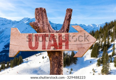 Utah wooden sign with winter background - stock photo