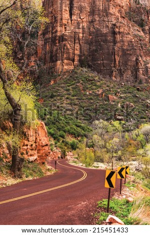 Utah Zion Scenic Road. Zion National Park, Utah, United States. Scenic Drive. - stock photo