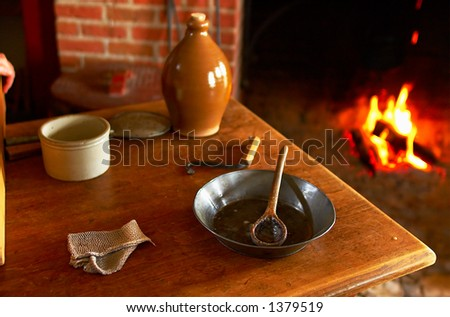 Utensil & fireplace in kitchen at Fort Snelling in 1820s. More with keyword Series08E. - stock photo