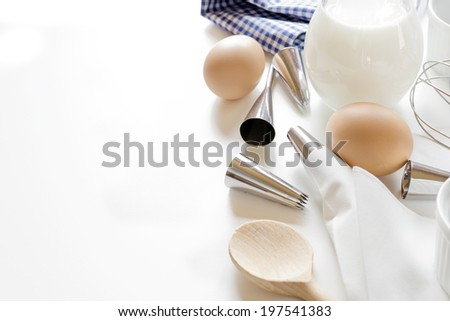 Utensils  and ingredients  for decoration of cake - stock photo