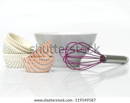 utensils for preparing muffins macro - stock photo