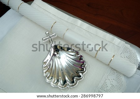 utensils for the ritual of baptism - stock photo