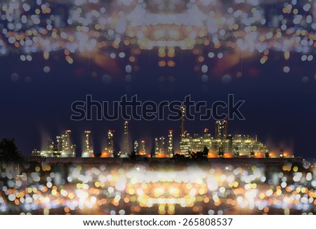 Utility plant, Oil Refinery twilight light in thailand industrial bokeh  background. - stock photo
