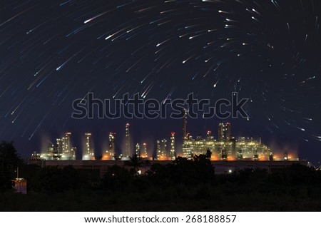 Utility plant, Oil Refinery twilight light stars background in thailand industrial. - stock photo