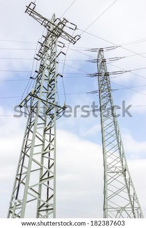 Utility pole with power line - stock photo