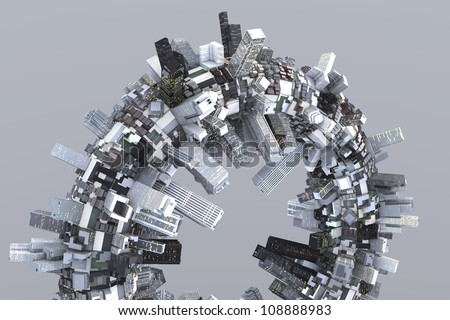 Utopian city of the future on a ring in 3D - stock photo