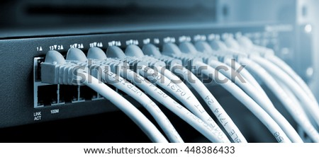 UTP Cat5e Cable with patch panel - stock photo