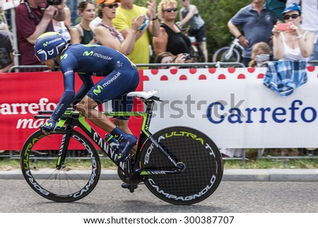 UTRECHT,NETHERLANDS JUL 4:The Colombian clist Nairo Quintana of Movistar Team riding during the first stage (individual time trial ) of Le Tour de France 2015 in Utrecht,Netherlands on 04 July 2015  - stock photo