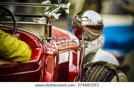 Uttar Pradesh, India - February 7, 2016: This vintage car was on the F1 track at the 21 Gun Salute International Vintage Car Rally 2016 which took place at Buddh International Circuit, Greater Noida. - stock photo