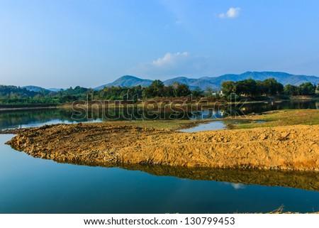 Uttaradit reservoir of landscapes in Thailand. - stock photo