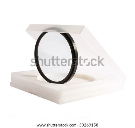 UV photo camera filter in a case, Isolated on white background - stock photo