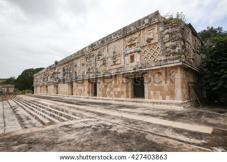 Uxmal, an ancient Maya city of the classical period in present-day Mexico, considered one of the most important archaeological sites of Maya culture. - stock photo
