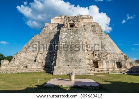 Uxmal pyramid, an ancient mayan site in Mexico - stock photo