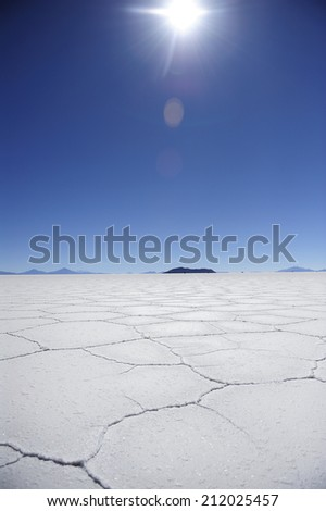 Uyuni Salt Flat, Salar de Uyuni,?? world'??s largest salt flat, Bolivia, - stock photo