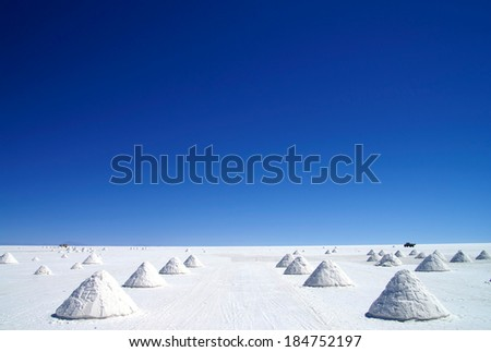 Uyuni Salt Flats in Bolivia - stock photo