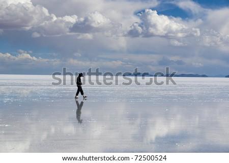 Uyuni salt lake - stock photo