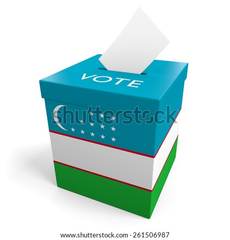 Uzbekistan election ballot box for collecting votes - stock photo