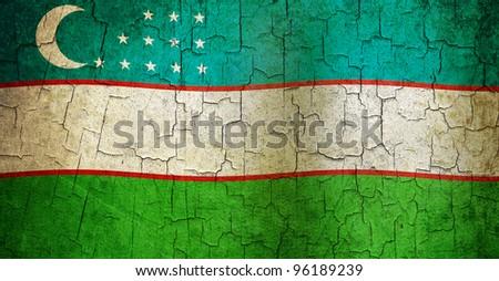 Uzbekistan flag on a cracked grunge background - stock photo
