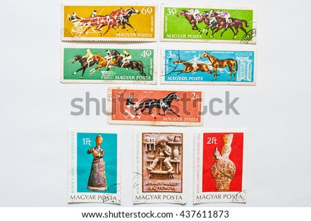 UZHGOROD, UKRAINE - CIRCA MAY, 2016: Collection of postage stamps printed in Hungary shows equestrian and horse riding sport and works of Margit Kovacs (1902-1977) circa 1961 - stock photo