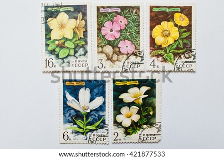 UZHGOROD, UKRAINE - CIRCA MAY, 2016: Collection of postage stamps printed in USSR, shows mountain plants and flowers series, circa 1977 - stock photo