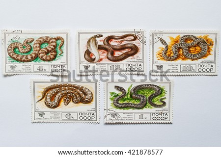 UZHGOROD, UKRAINE - CIRCA MAY, 2016: Collection of postage stamps printed in USSR shows poisonous reptiles snakes, circa 1977 - stock photo