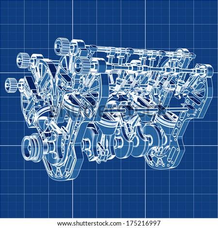 Stock Photo V Car Engine Cad Cartoon White Drawing On Blue Background Illustration Outline High Resolution D
