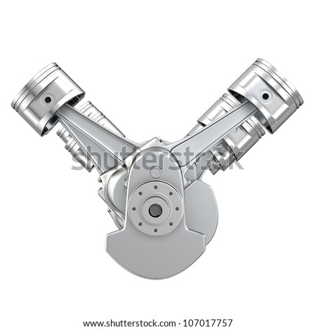 V8 engine pistons on a crankshaft, front view, isolated on white background - stock photo