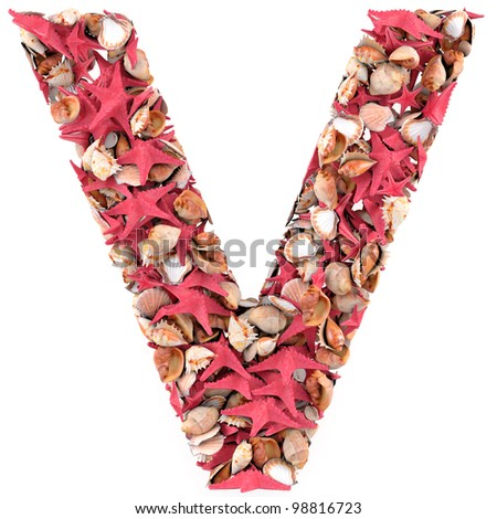 V letter from seashells and starfish. Isolated on white background. 3d render - stock photo