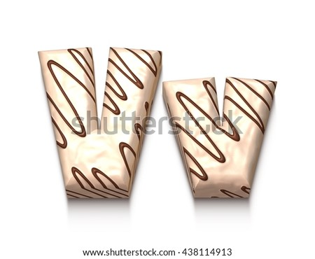 V letter of white chocolate with brown cream in 3d rendered on white background. - stock photo