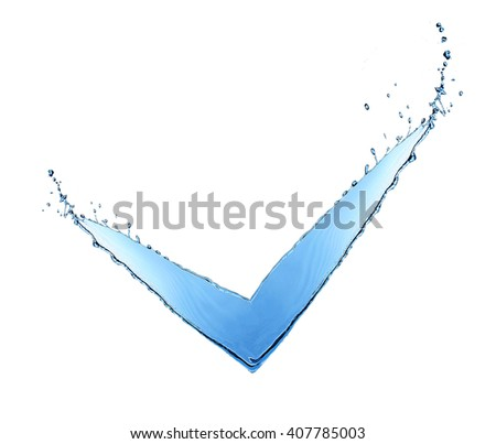 V sign made of water splashes isolated on white - stock photo
