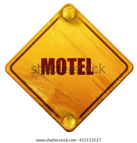 Vacancy sign for motel, 3D rendering, isolated grunge yellow road sign - stock photo