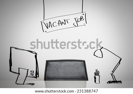 Vacant job business concept: a leather chair and an empty desk at office - stock photo