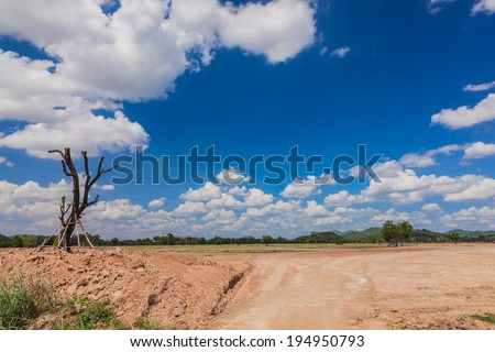 Vacant land with a blue sky - stock photo