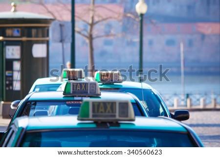 Vacant taxi parking, Porto, Portugal. Horizontal shot - stock photo