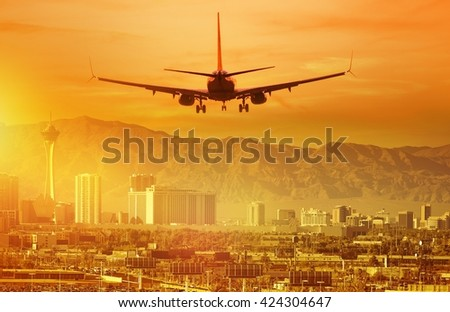 Vacation Airplane Trip to Las Vegas. Landing Aircraft in Las Vegas, Nevada, United States. - stock photo