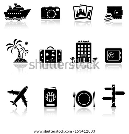 Vacation and travel icon set. Raster version.  - stock photo