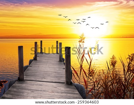 vacation at the lake - stock photo