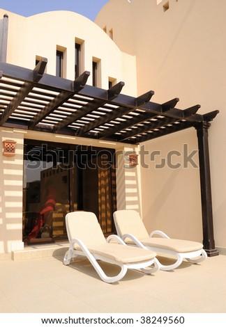Vacation at villa in luxurious hotel, Dubai, UAE - stock photo