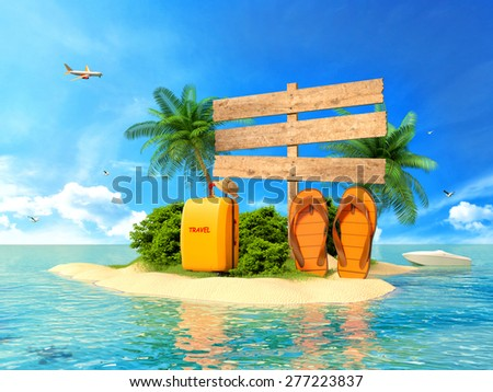 Vacation background. Beach with palm tree, suitcase and flip flops - stock photo