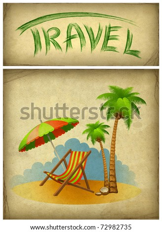 Vacation background with chaise lounge - stock photo