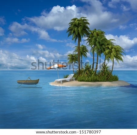 vacation beach - stock photo