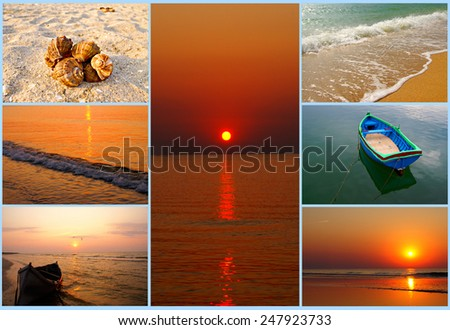 Vacation collage background - stock photo