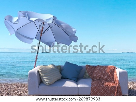 vacation concept background with interior elements and sea beach - stock photo