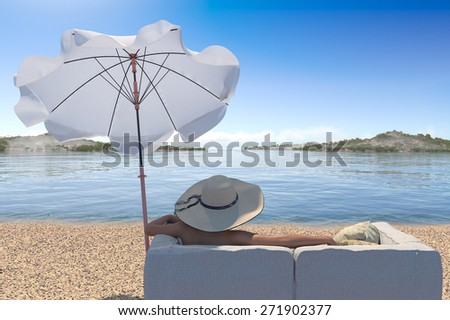 vacation concept background with interior elements and young woman - stock photo
