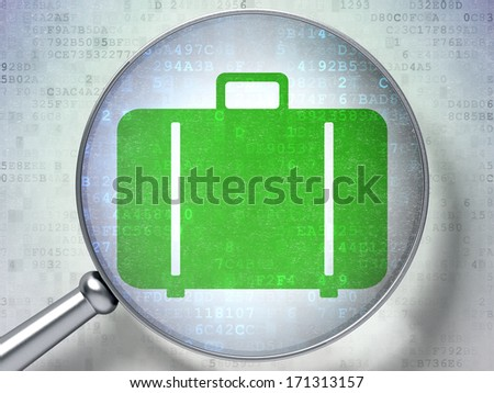 Vacation concept: magnifying optical glass with Bag icon on digital background, 3d render - stock photo