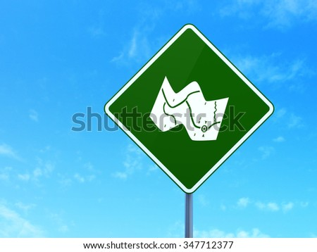 Vacation concept: Map on green road highway sign, clear blue sky background, 3d render - stock photo