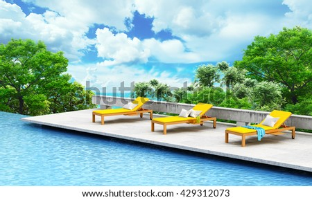 Vacation concept. Swimming pool with loungers and tree on a open landscape background. 3d illustration - stock photo